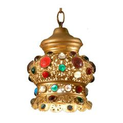 Italian Jeweled and Gilded Crown Pendant