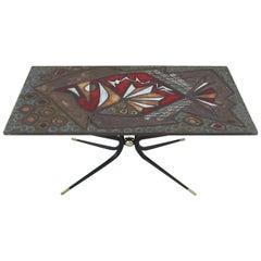 Italian Artisan Tile Table in the Style of Gio Ponti