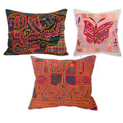 Brightly Colored Vintage Mola Pillows, Red Orange and Pink