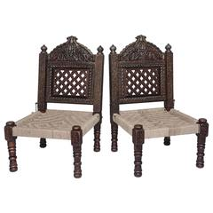 Pair of Hand-Carved Wood and Rope, Folding Chairs, Morocco