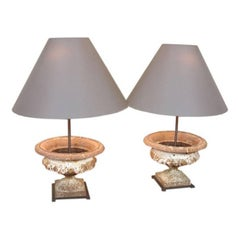 Pair of French Cast-Iron Urn Lamps
