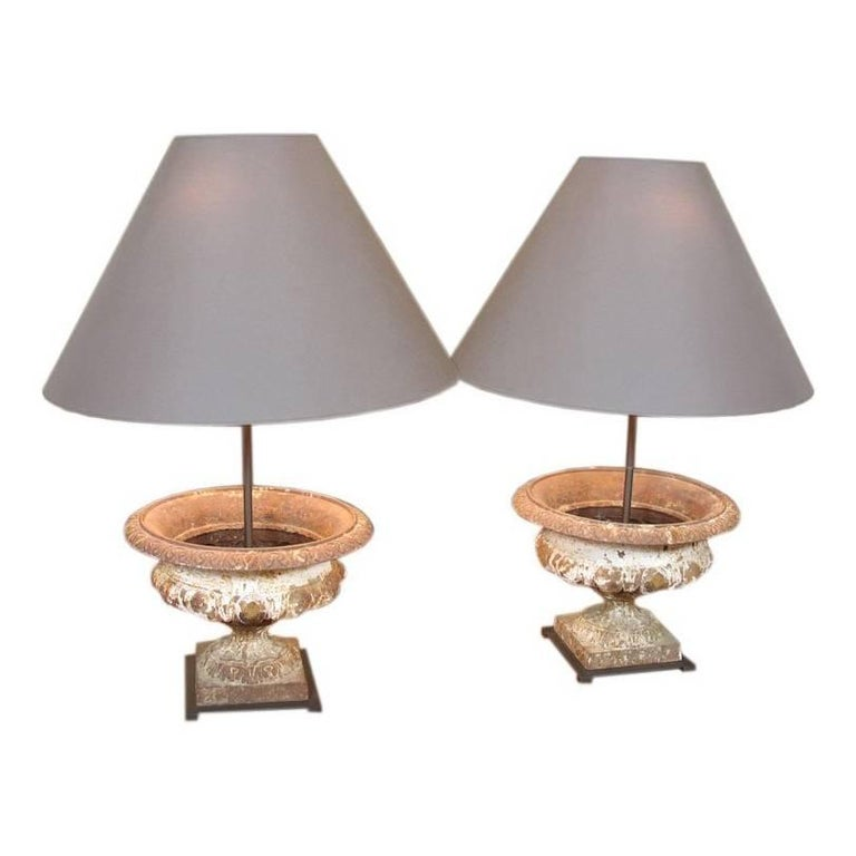 Pair of French Cast-Iron Urn Lamps For Sale