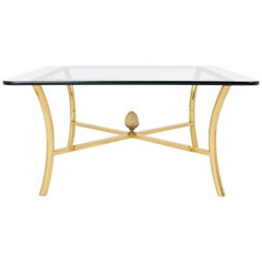 French Vintage Gilt Brass Coffee Table by Maison Raphael