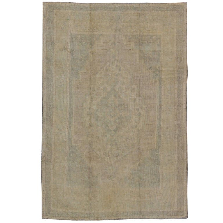 Turkish Oushak Rug with Neutral Colors