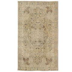 Classic Turkish Sivas Rug with Neutrals and Green