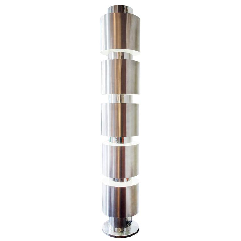 Chrome Floor Lamp In The Style Of Paul Mayen At 1stdibs
