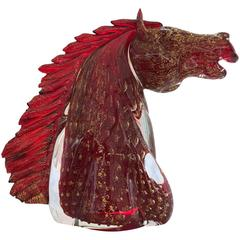 Superb handcrafted red & gold gass horse head, Giancarlo Signoretto