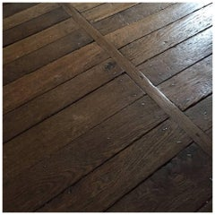 Authentic Reclaimed French Antique Wood Oak Flooring, 18th Century
