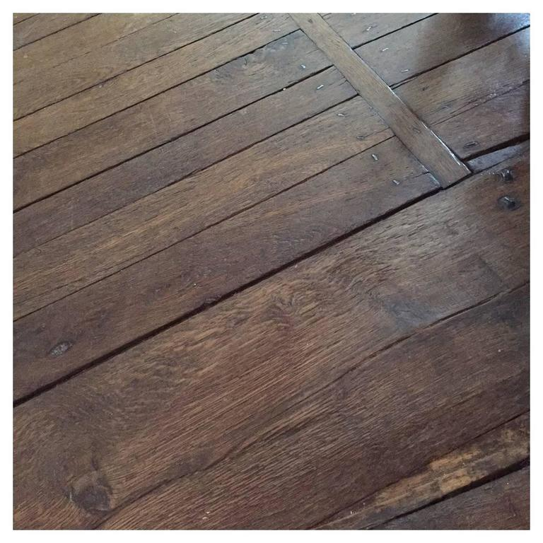 Original French Antique Solid Wood Oak Flooring, 17th-19th Century