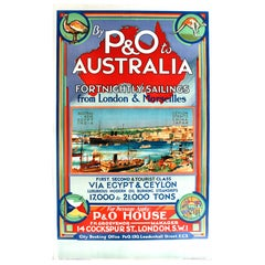 Original 1920s Cruise Ship Poster - By P&O to Australia from London & Marseilles