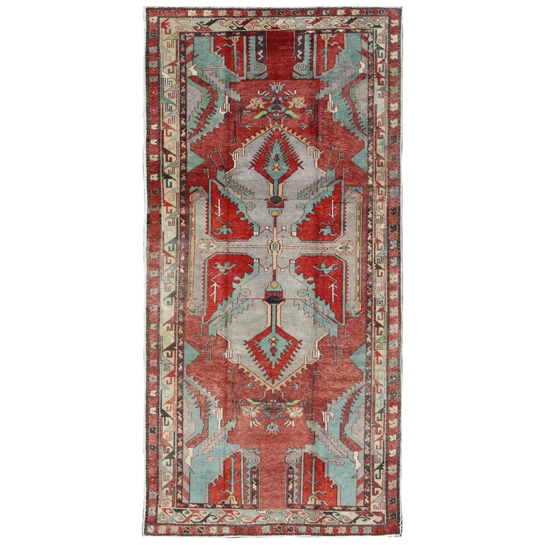 Vintage Turkish Oushak Gallery Runner
