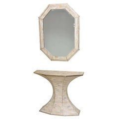 Maitland-Smith Tessellated Marble Console and Mirror with Brass Inlays