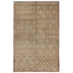 Turkish Oushak Rug with all over design and neutral colors, Tan Taupe, Icy Blue