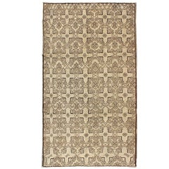 Vintage Oushak Rug with Modern Transitional Design in Dark Brown and Taupe