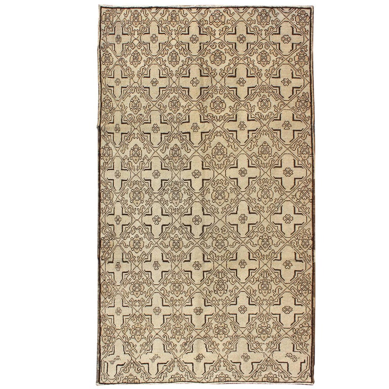 Vintage Oushak Rug with Modern Transitional Design in Dark Brown and Taupe For Sale