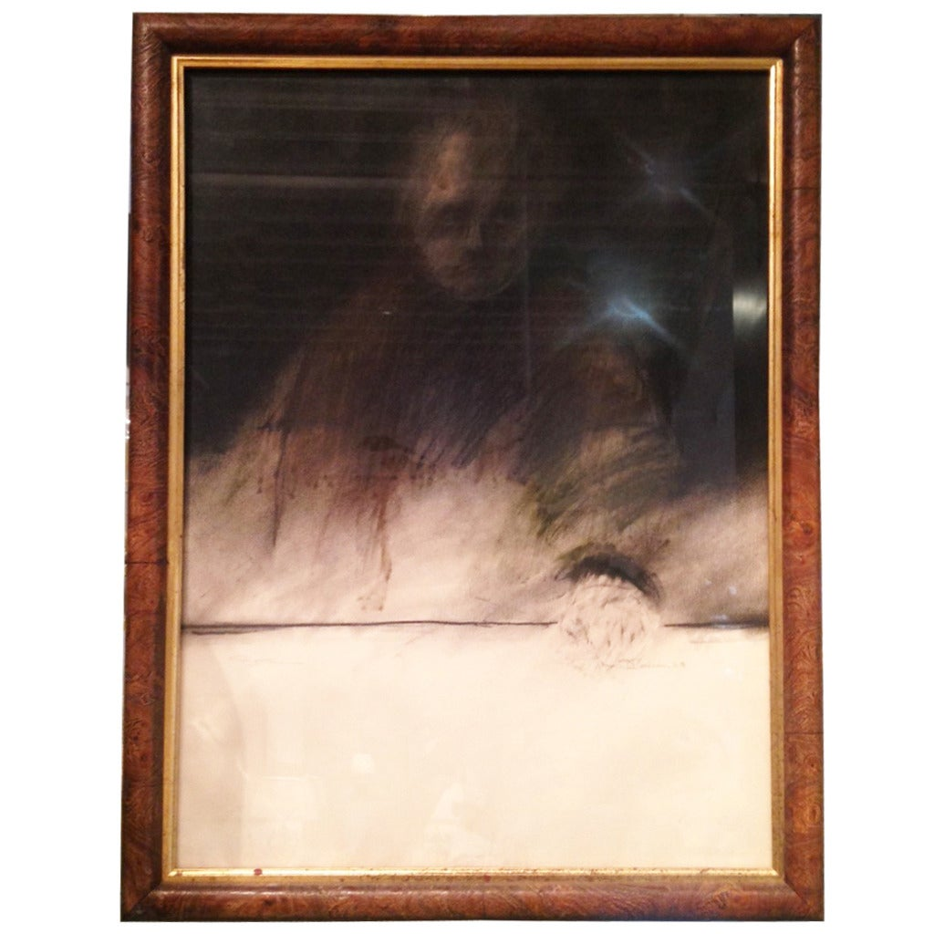 """Framed Charcoal Drawing of Man """"O'Conner"""""""