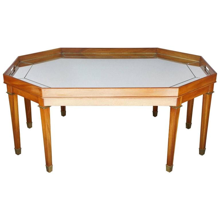 Vintage Blonde Mahogany And Mirror Topped Coffee Table By Ralph Lauren For Sale At 1stdibs