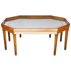 Vintage Blonde Mahogany and Mirror Topped Coffee Table by Ralph Lauren