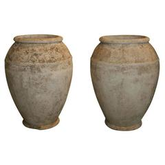 Pair of Carved Cement Jars