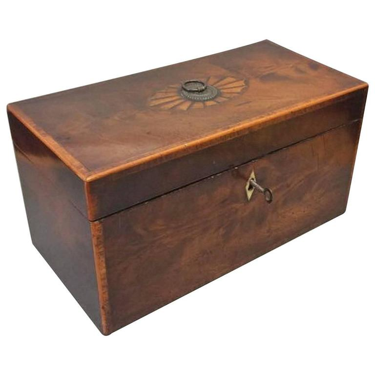 George III Period Mahogany Inlaid Tea Caddy