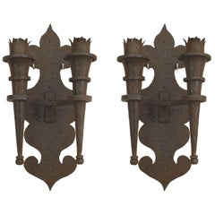 Pair of 20th Century Renaissance Revival Wrought Iron Double Torch Sconces