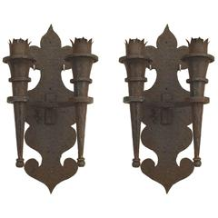 Pair of 20th Century Renaissance Revival Wrought Iron Double Torch Sconces