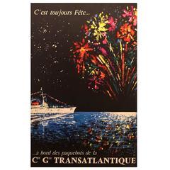 Mid-Century Modern French Poster for Transatlantique Cruise Ships, 1958