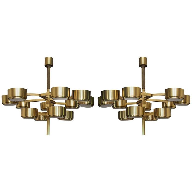 Two Large Twelve-Light Pendants Chandeliers Attributed to Hans-Agne Jakobsson 1