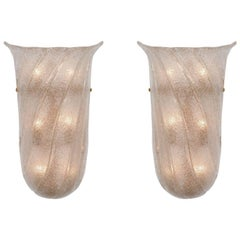 Pair of Frosted and Fluted Murano Glass Sconces
