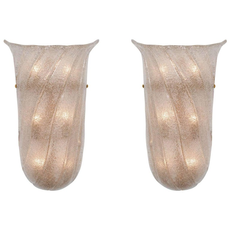 Pair of Frosted and Fluted Murano Glass Sconces For Sale