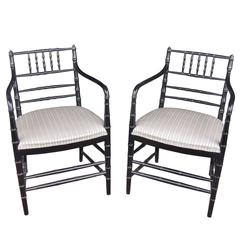 Pair of Ebonized Regency Style Armchairs