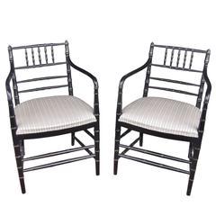 Pair of Ebonized Regency Style Armchairs