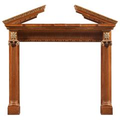 18th Century Antique Carved Pine Fireplace Mantel