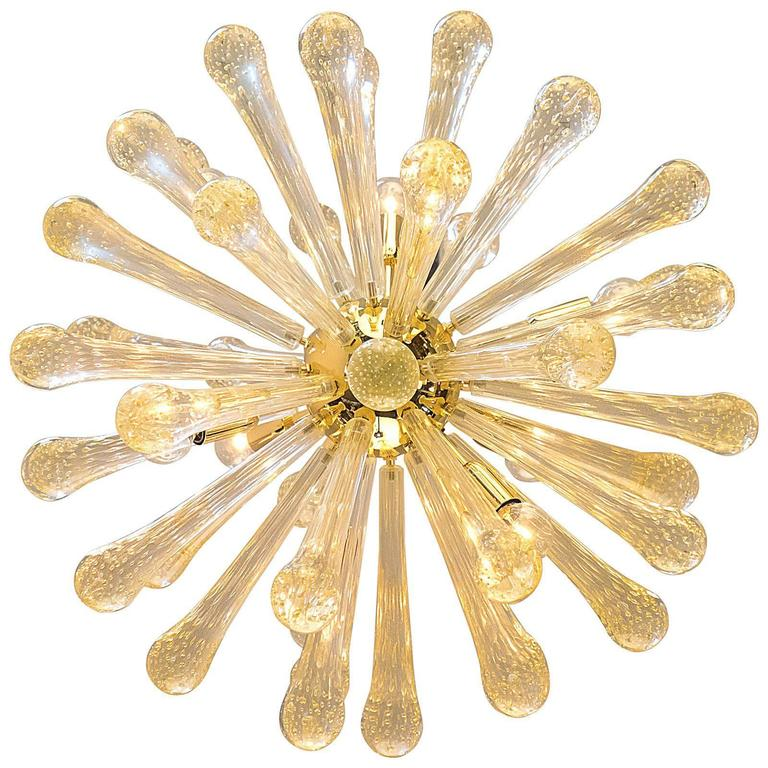 "Murano Gold ""Pulegoso"" Glass Sputnik Chandelier For Sale"