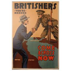 "Original Vintage 1917 World War I Propaganda Poster ""Britishers You're Needed"""
