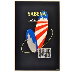 Original Mid-Century Modern Travel Poster for Sabena, Brussels to New York