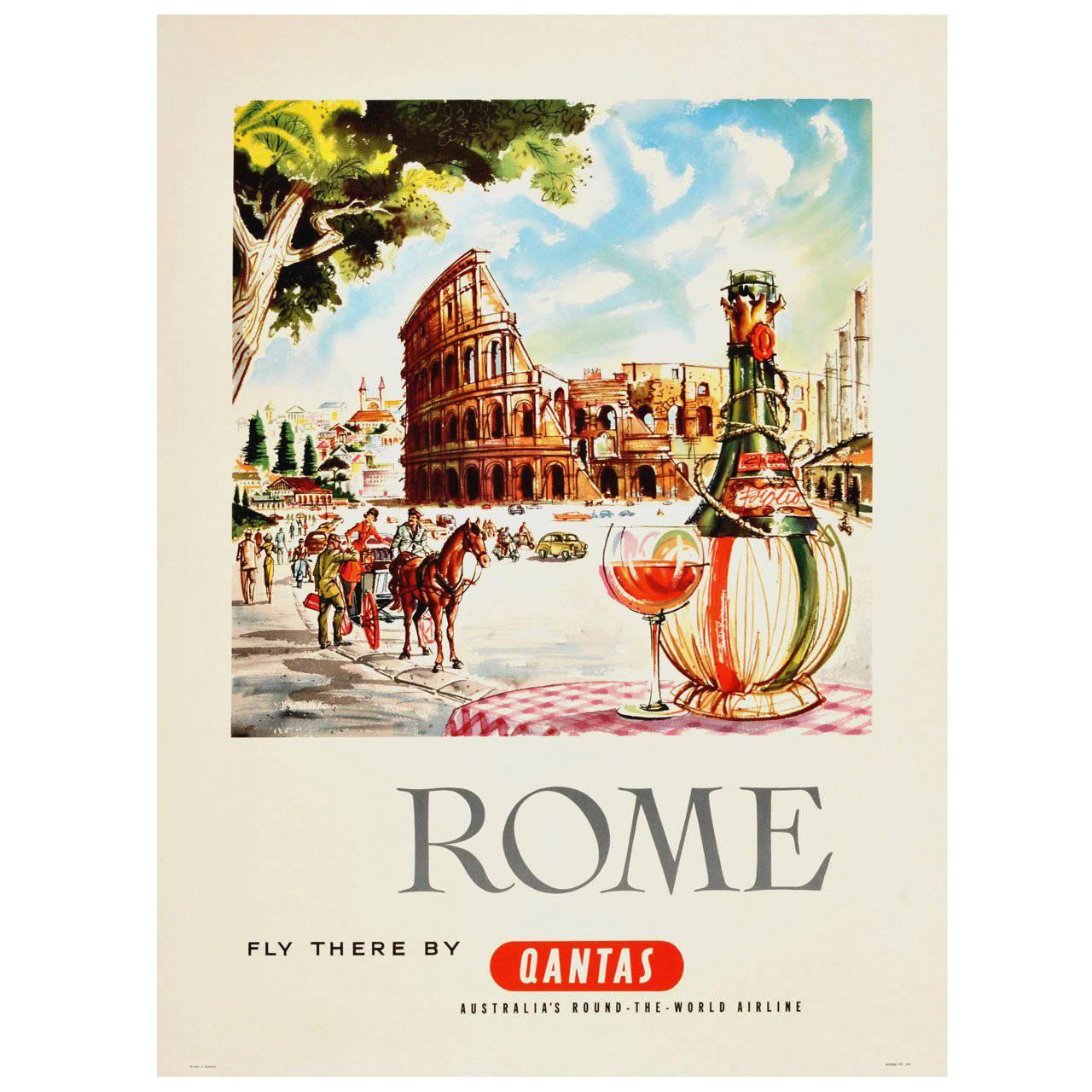 """Original Travel Advertising Poster by Harry Rogers """"Rome - Fly There by Qantas"""""""