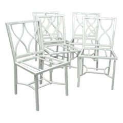 Set of Eight-Light Weight  White Ocean Liner Aluminum Chairs