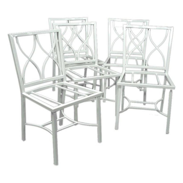 Set of Eight-Light Weight  White Ocean Liner Aluminum Chairs For Sale