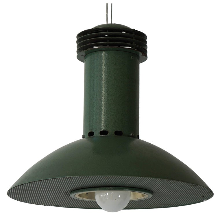 One Green Metal  Industrial Light For Sale