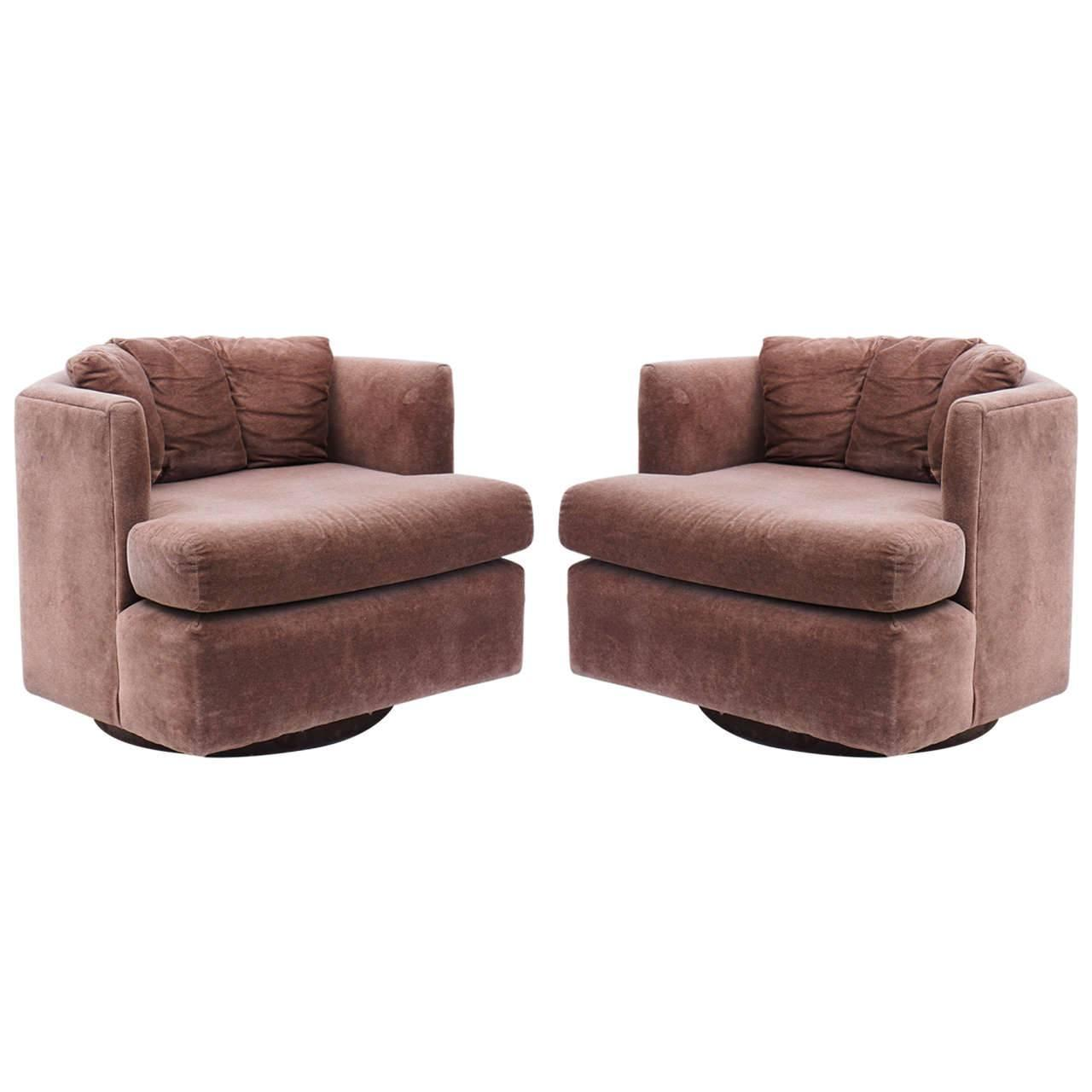 Pair Of Mid Century Modern Baughman Faceted Swivel Tub Chairs For Sale At 1st