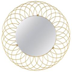 French Vintage Round Brass Mirror, 1960s