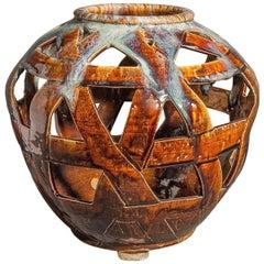 Japanese Ceramic Flower Vase in Basket Weave Form