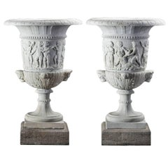 Pair of Large Continental Sculpted White Marble Urns