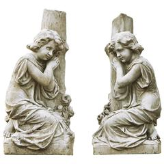 Pair of Continental, Probably French Sculpted White Marble Models of Kneeling C