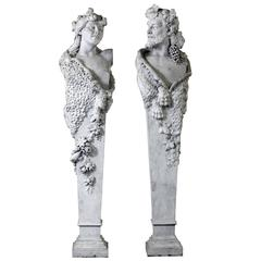 Pair of Sculpted Marble Herm Figures Representing Bacchus and a Bacchante