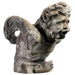 Sculpted Limestone Bearded Man Fountainhead/Gargoyle