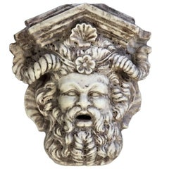 Large Carved Marble Wall Fountain Modelled as a Bacchic Mask