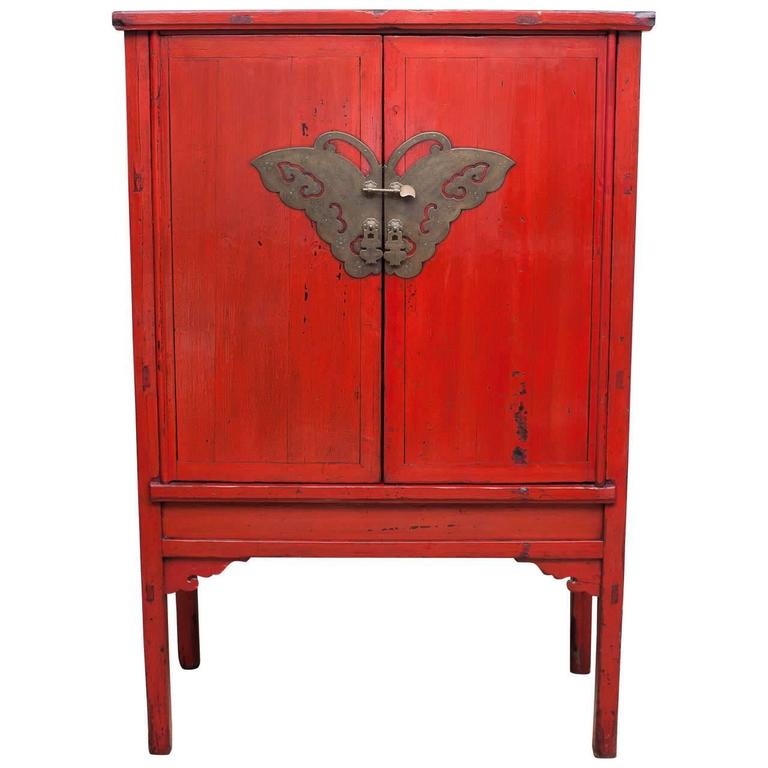 Red lacquer butterfly cabinet 19th century at 1stdibs for Red chinese furniture