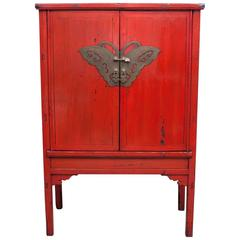 Red Lacquer Butterfly Cabinet, 19th Century